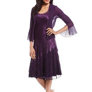 Komarov NEW Beaded Chiffon Crinkle Jacket & Dress